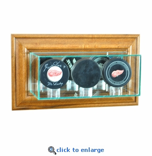 Wall Mounted Triple Puck Display Case - Walnut