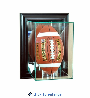 Wall Mounted Upright Football Display Case - Black