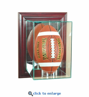 Wall Mounted Upright Football Display Case - Cherry