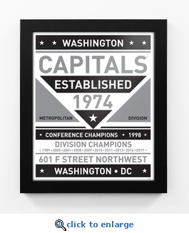 Washington Capitals Black and White Team Sign Print Framed