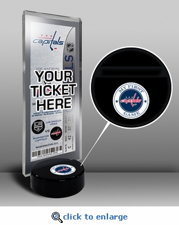 Washington Capitals My First Game Hockey Puck Ticket Stand