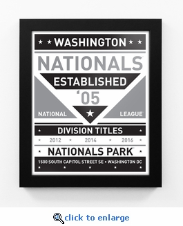 Washington Nationals Black and White Team Sign Print Framed