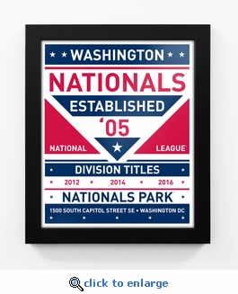 Washington Nationals Dual Tone Team Sign Print Framed