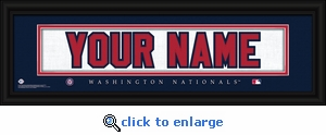 Washington Nationals Personalized Stitched Jersey Nameplate Framed Print