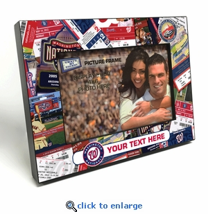 Washington Nationals Personalized Ticket Collage Black Wood Edge 4x6 inch Picture Frame