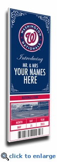 Washington Nationals Personalized Special Occasion Announcement on Canvas - Ticket Design