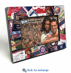 Washington Nationals Ticket Collage Black Wood Edge 4x6 inch Picture Frame
