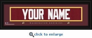 Washington Redskins Personalized Stitched Jersey Nameplate Framed Print