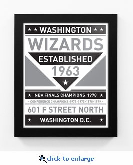 Washington Wizards Black and White Team Sign Print Framed
