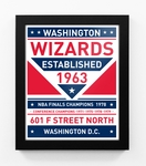 Washington Wizards Dual Tone Team Sign Print Framed