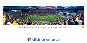 West Virginia Mountaineers Football - 50 Yard Line - Panoramic Photo (13.5 x 40)