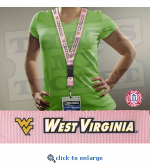 West Virginia Mountaineers NCAA Lanyard Key Chain and Ticket Holder - Pink