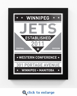 Winnipeg Jets Black and White Team Sign Print Framed