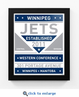 Winnipeg Jets Dual Tone Team Sign Print Framed