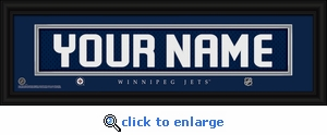 Winnipeg Jets Personalized Stitched Jersey Nameplate Framed Print