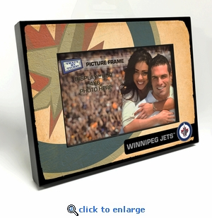 Winnipeg Jets Vintage Style Black Wood Edge 4x6 inch Picture Frame