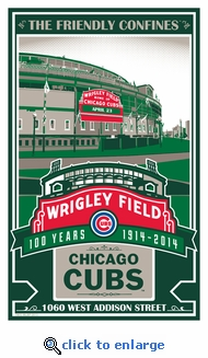 Wrigley Field 100th Anniversary Sports Propaganda Handmade LE Serigraph - Chicago Cubs