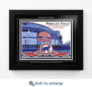 Wrigley Field Sports Propaganda Framed 13x16 Digital Print - Cubs