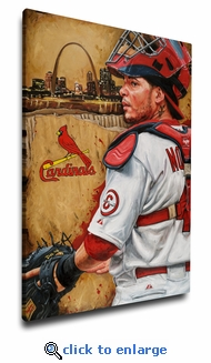 Yadier Molina - 12x18 Art Reproduction on Canvas by Justyn Farano - Cardinals