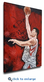 Yao Ming 12x18 Art Reproduction on Canvas by Justyn Farano - Houston Rockets