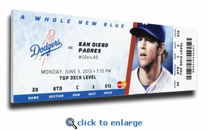 Yasiel Puig MLB Debut (6/3/13) Canvas Mega Ticket  (Kershaw Pictured) - Dodgers