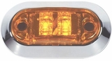 "2 1/2"" Oval  Amber LED Side Marker w/Chrome Bezel"