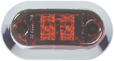 "2 1/2"" Oval  RED LED Side marker w/chrome Bezel"