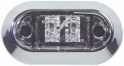 "2 1/2"" Oval Red LED Sidemarker/Clearance light-Clear Lens"