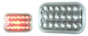 3 X 5 Clear Mirrored Red LED Stop, Tail & Turn Lamp