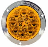 "4"" Chrome Flange Amber Led S/T/T Lamp"