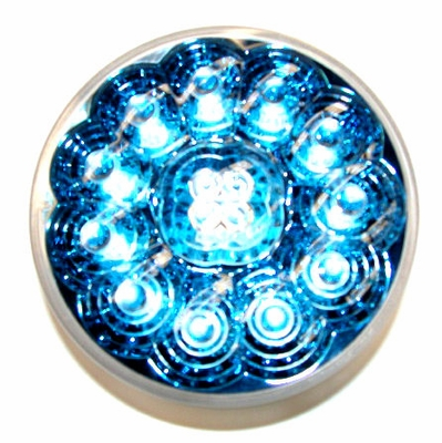 """4"""" Round Blue Reflector Red Led Lamp"""