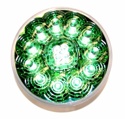 """4"""" Round Green Reflector Red Led Lamp"""