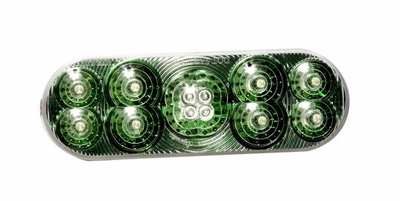 """6"""" Oval Green Reflector Red Led Lamp"""
