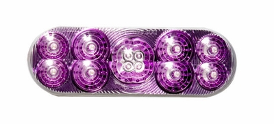 "6"" Oval Purple Reflector Red Led Lamp"
