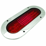 Oval Red 60 LED Flanged Stainless Mount S/T/T Lamp
