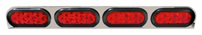 Quad Oval Red Led Stainless Lamp Bar