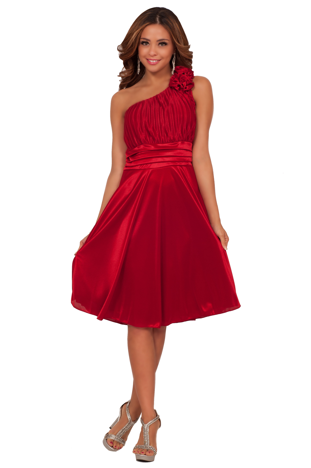 flowy bridesmaid flower accented holiday one shoulder