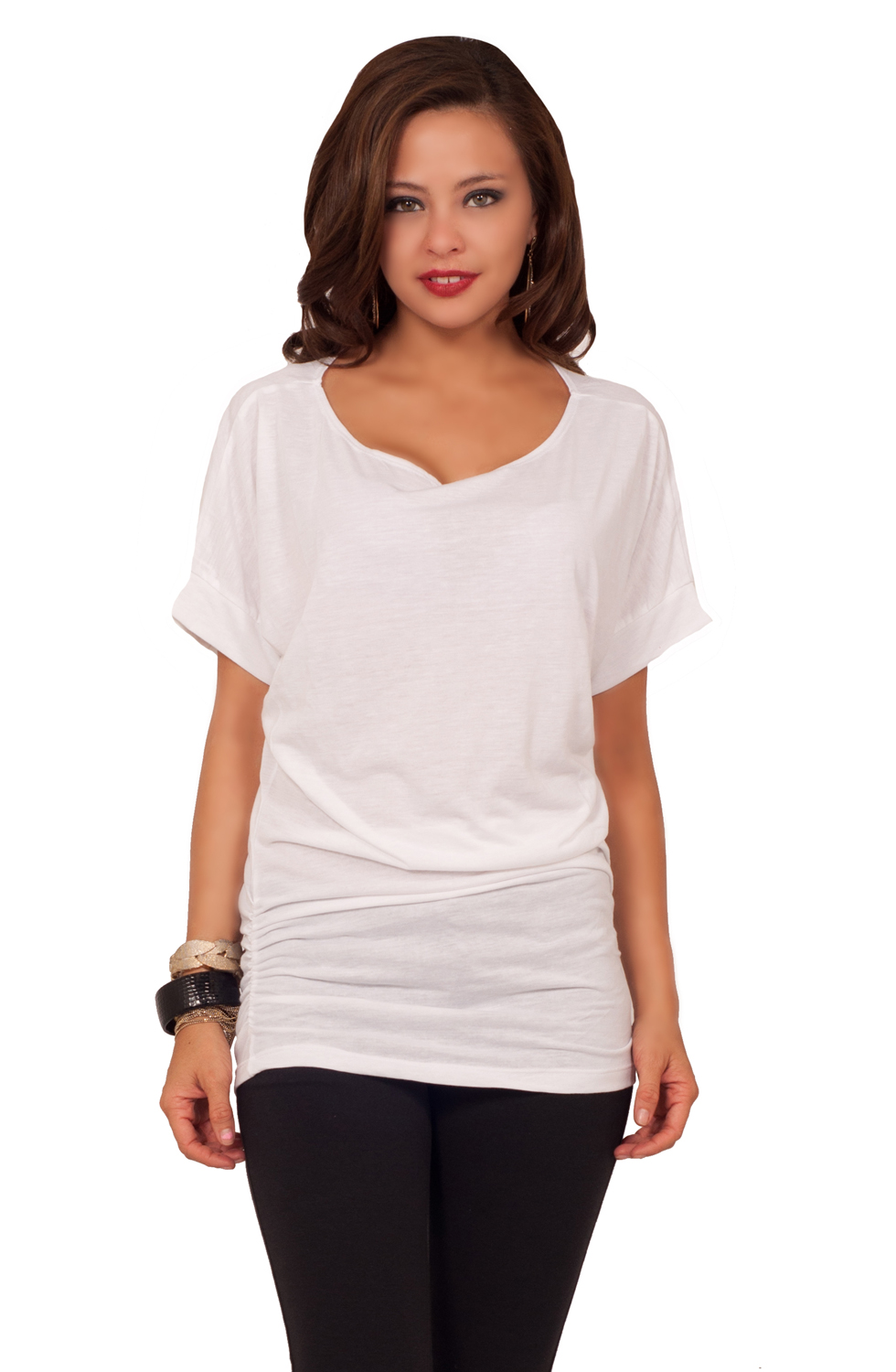 Short sleeved scooped neck off shoulder casual ruched for Best short sleeve shirts