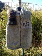 Sherpa Fleece Vest in Gray and Cream