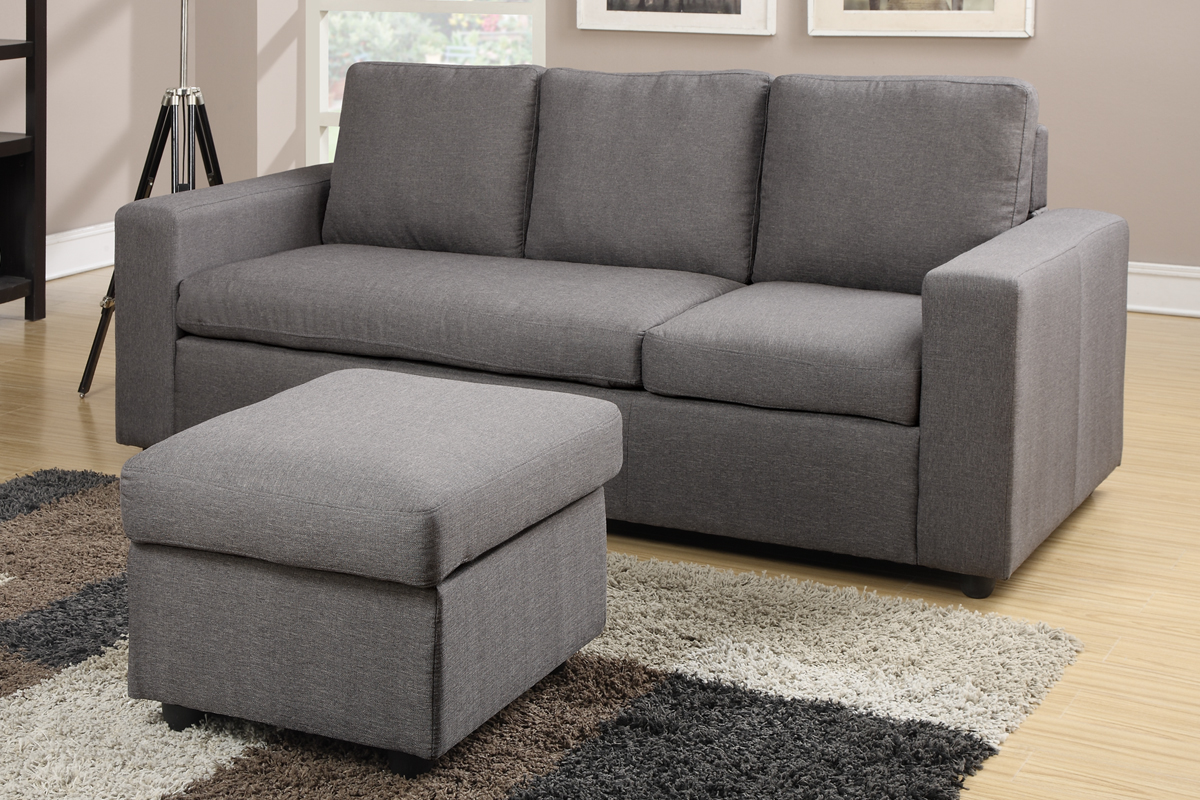 mini sectional sofas polaris mini contemporary grey bonded leather sectional sofa thesofa. Black Bedroom Furniture Sets. Home Design Ideas