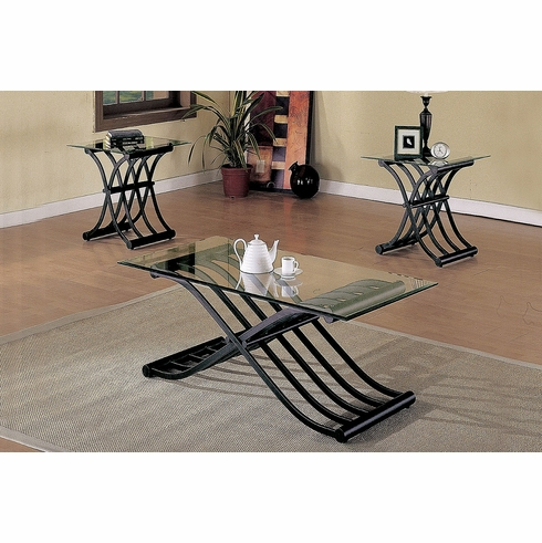 acme furniture item 02708 wave black metal 3pc coffee end table set