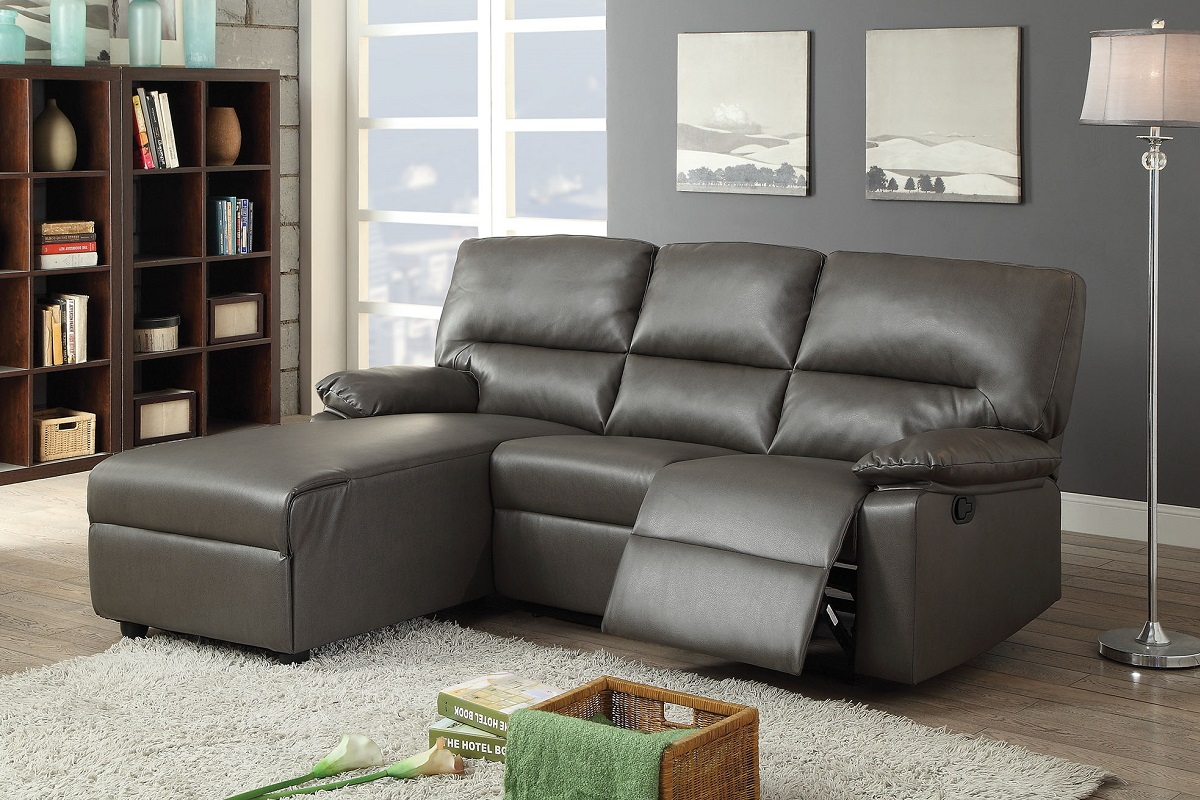 Artha Gray Bonded Leather Match Reclining Sectional Sofa & Acme Furniture Item 051560: Artha Gray Bonded Leather Match ... islam-shia.org