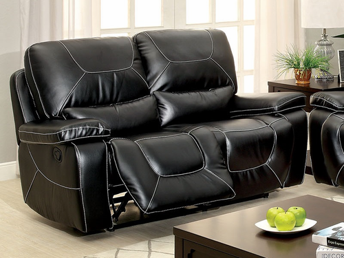 Black Bonded Leather Match Loveseat W/2 Recliners