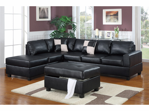 Bobkona Sectional Sofa (Black)