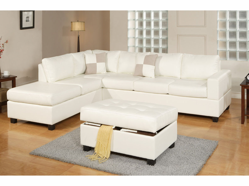 Bobkona Sectional Sofa (Cream)