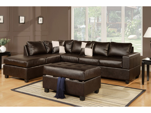 Bobkona Sectional Sofa (Espresso)