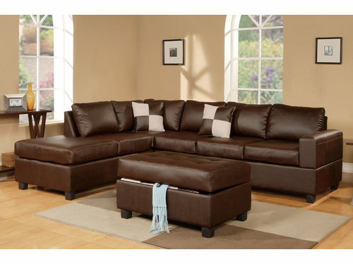Bobkona Sectional Sofa (Walnut)