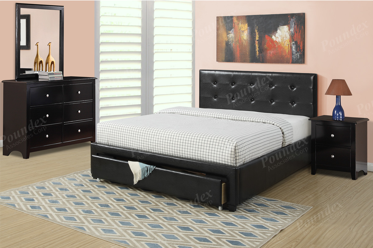 Item F9313Q Queen Size Platform Bed Frame W Underbed Drawer