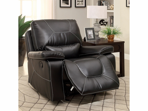 Newburg Black Bonded Leather Match Glider Recliner