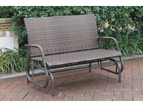 PE Rattan Outdoor Glider Loveseat
